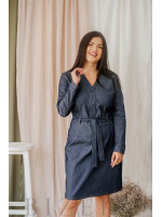 Джинсовое платье миди большого размера с V-образным вырезом В349