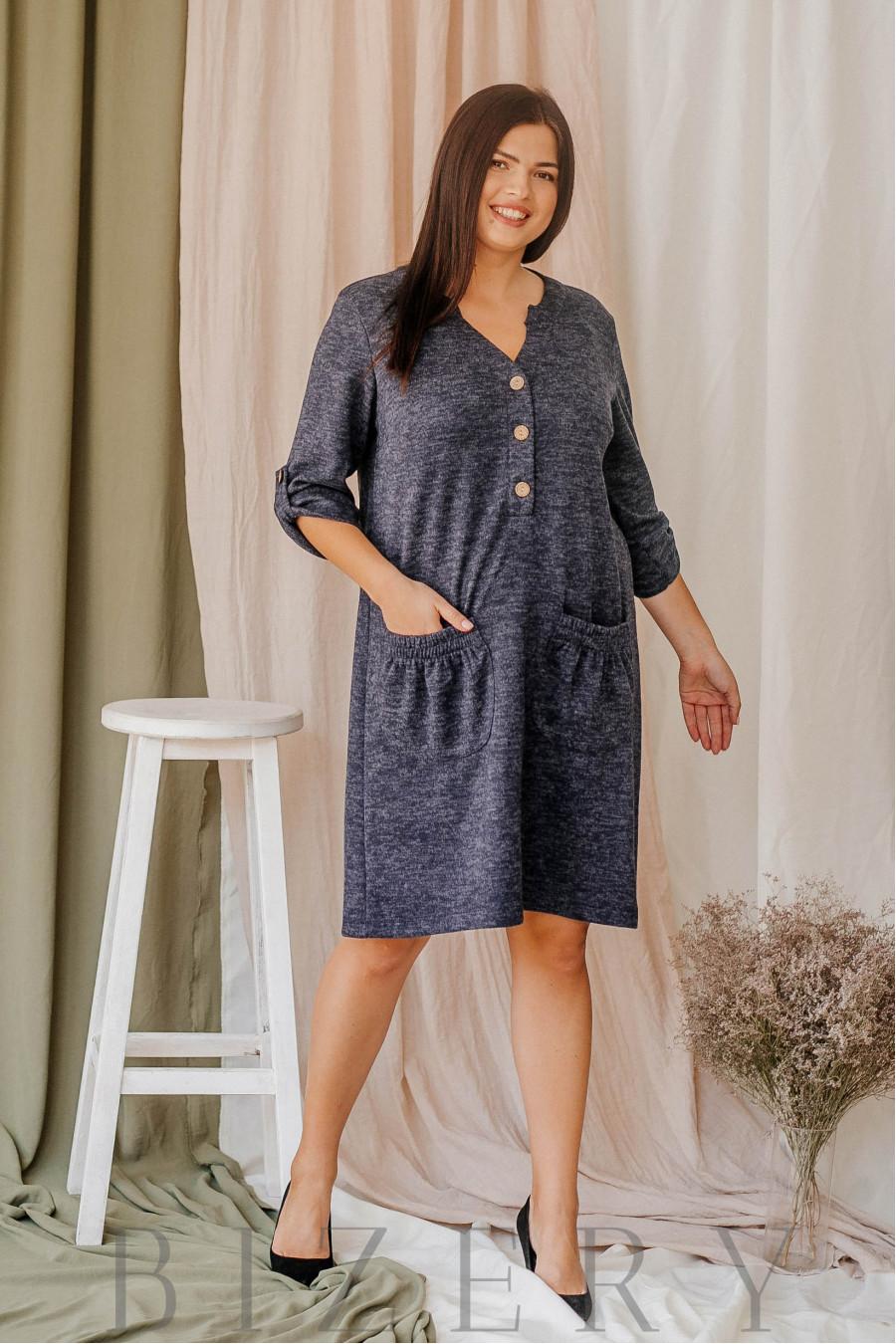 Платье демисезонное с накладными карманами из мягкой ангора-софт синее В350