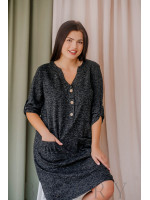 Платье демисезонное с накладными карманами из мягкой ангора-софт серое В351