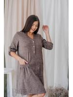 Платье демисезонное с накладными карманами из мягкой ангора-софт капучино В352