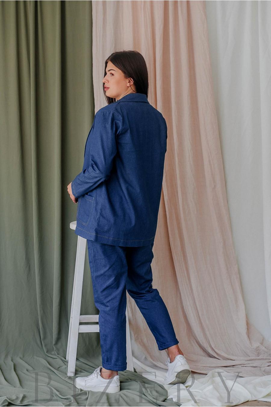 Стильный брючный костюм большого размера джинсовый В356