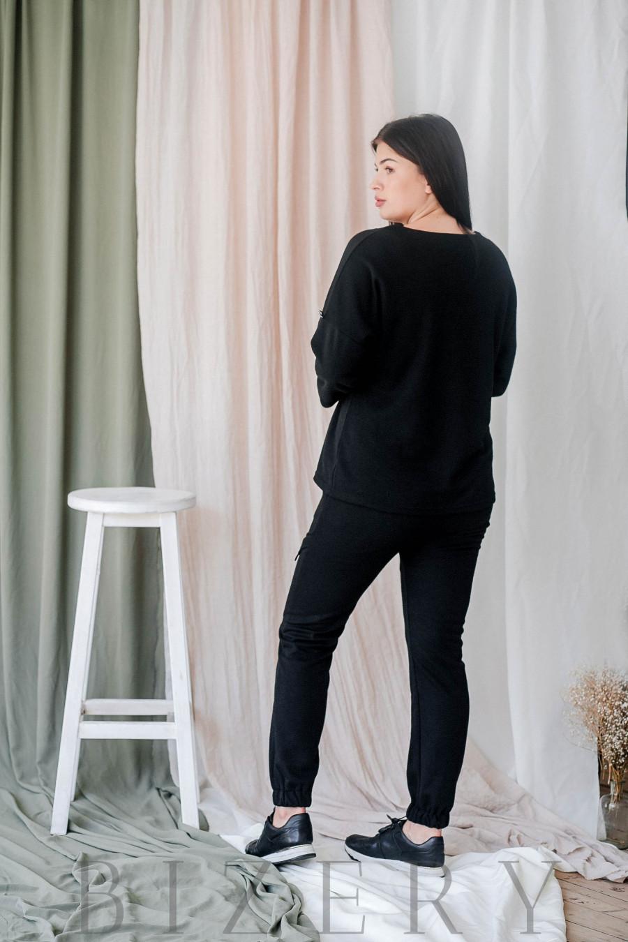 Демисезонный костюм полу-спорт большого размера чёрный В338