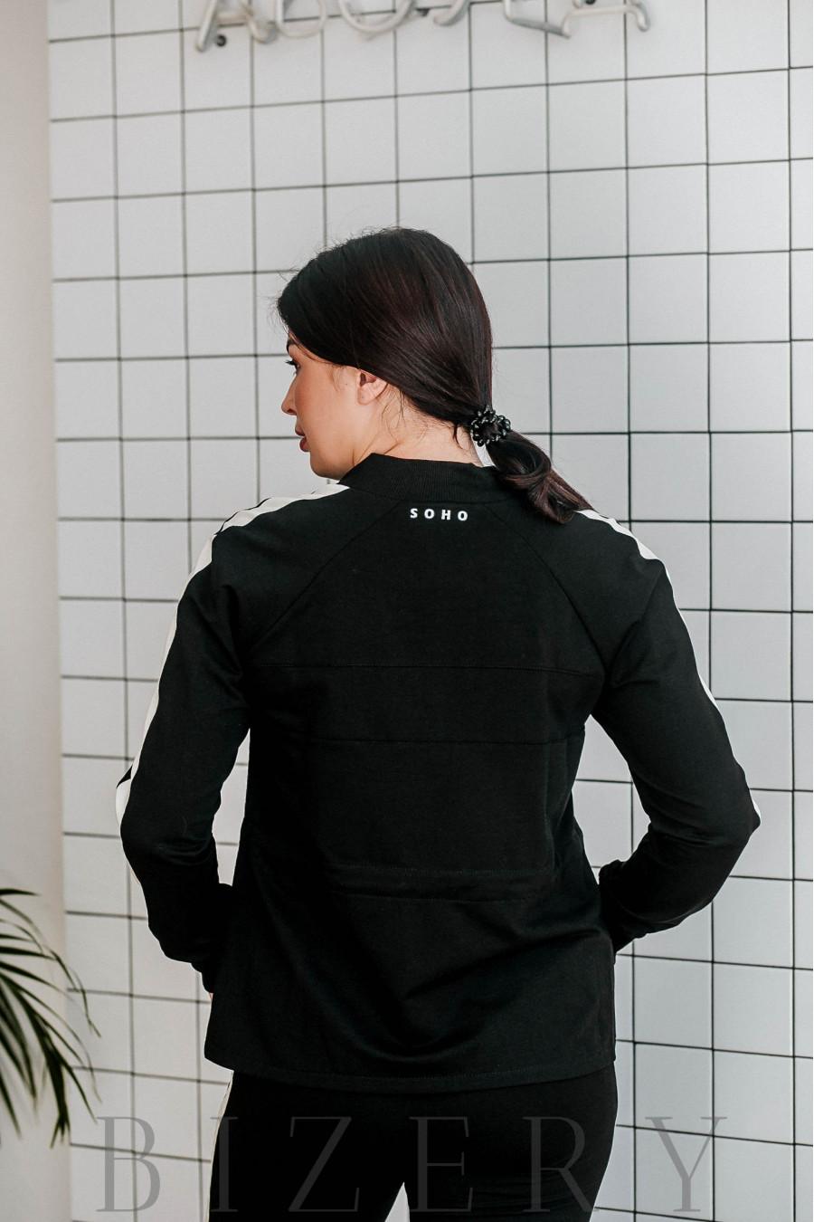 Спортивный костюм большого размера чёрный В341