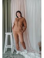 Тёплый костюм полу-спорт с худи большого размера коричневый В345