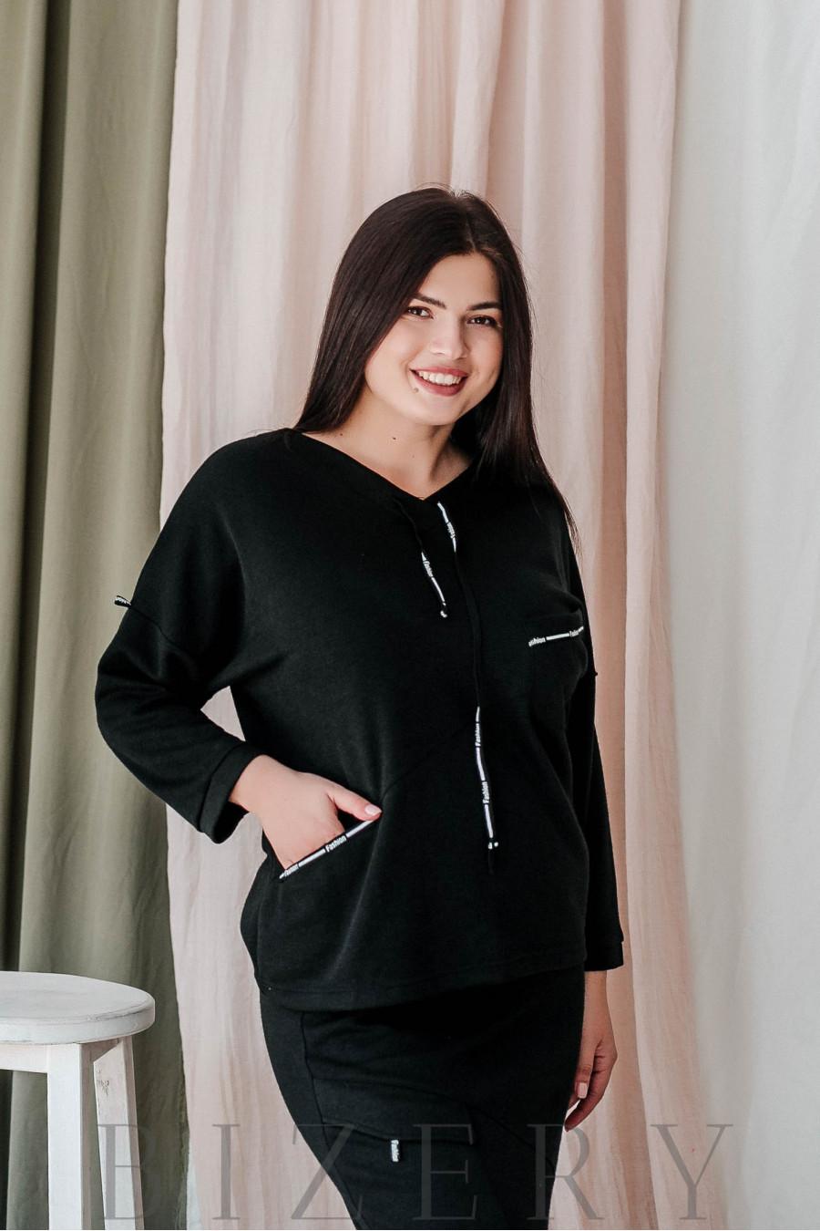 Костюм с юбкой большого размера в стиле спорт-шик чёрный В359