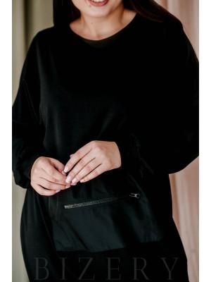 Платье полу-спорт из мягкой двунитки с накладным карманом впереди чёрное В361