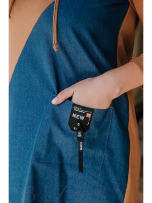 Платье полу-спорт большого размера из джинса с трикотажем В364