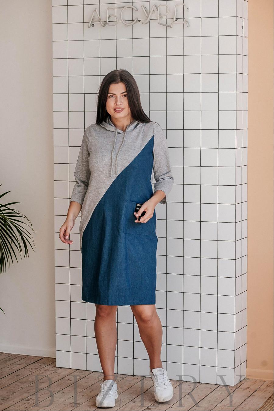 Платье полу-спорт большого размера из джинса с трикотажем В365