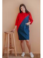 Платье полу-спорт большого размера из джинса с трикотажем В366
