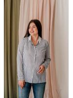 Рубашка из мягкого льна в синюю полоску В367