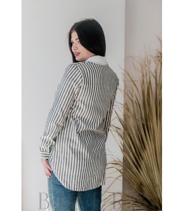 Рубашка из мягкого льна в серую полоску В368