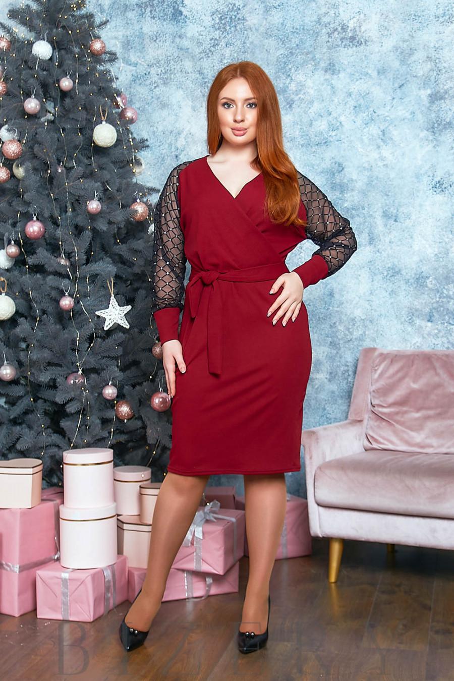 Платье миди с имитацией запаха в бордовом цвете B524
