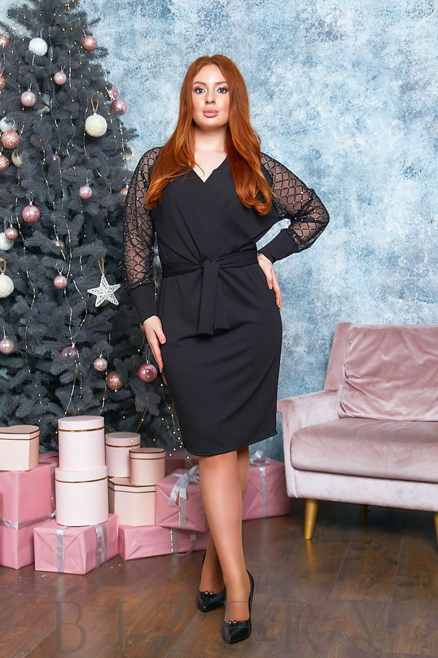 Платье миди с имитацией запаха в чёрном цвете B525