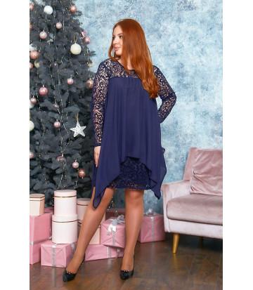 Коктейльное платье в тёмно-синем цвете B526