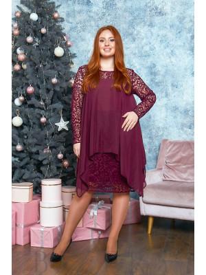 Коктейльное платье в бордовом цвете B527