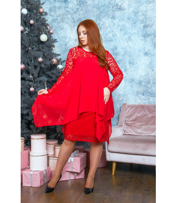 Коктейльное платье в красном цвете B528