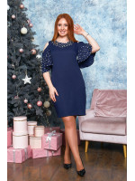 Романтическое платье в синем цвете с воланами на плечах B529