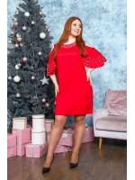 Романтическое платье в красном цвете с воланами на плечах B530