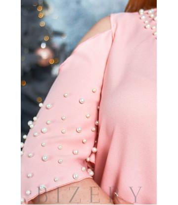 Романтическое платье в пудровом цвете с воланами на плечах B531