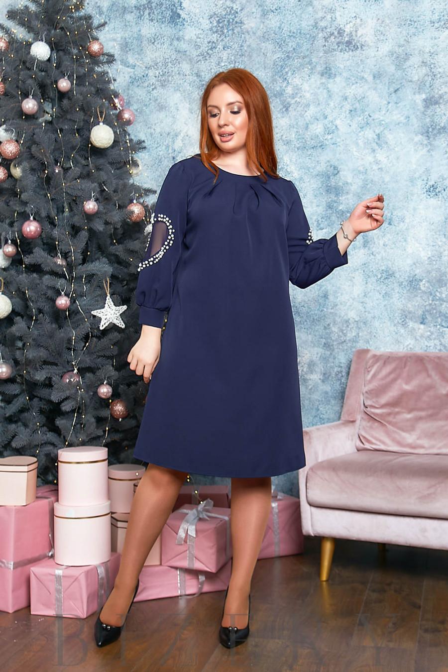 Утончённое платье А-силуэта в тёмно-синем цвете B547