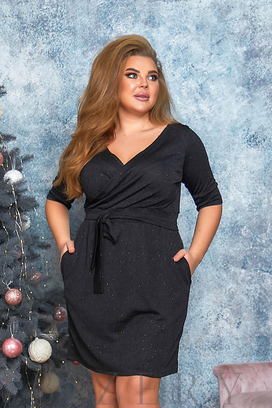 Платье мини с имитацией запаха в чёрном цвете B560