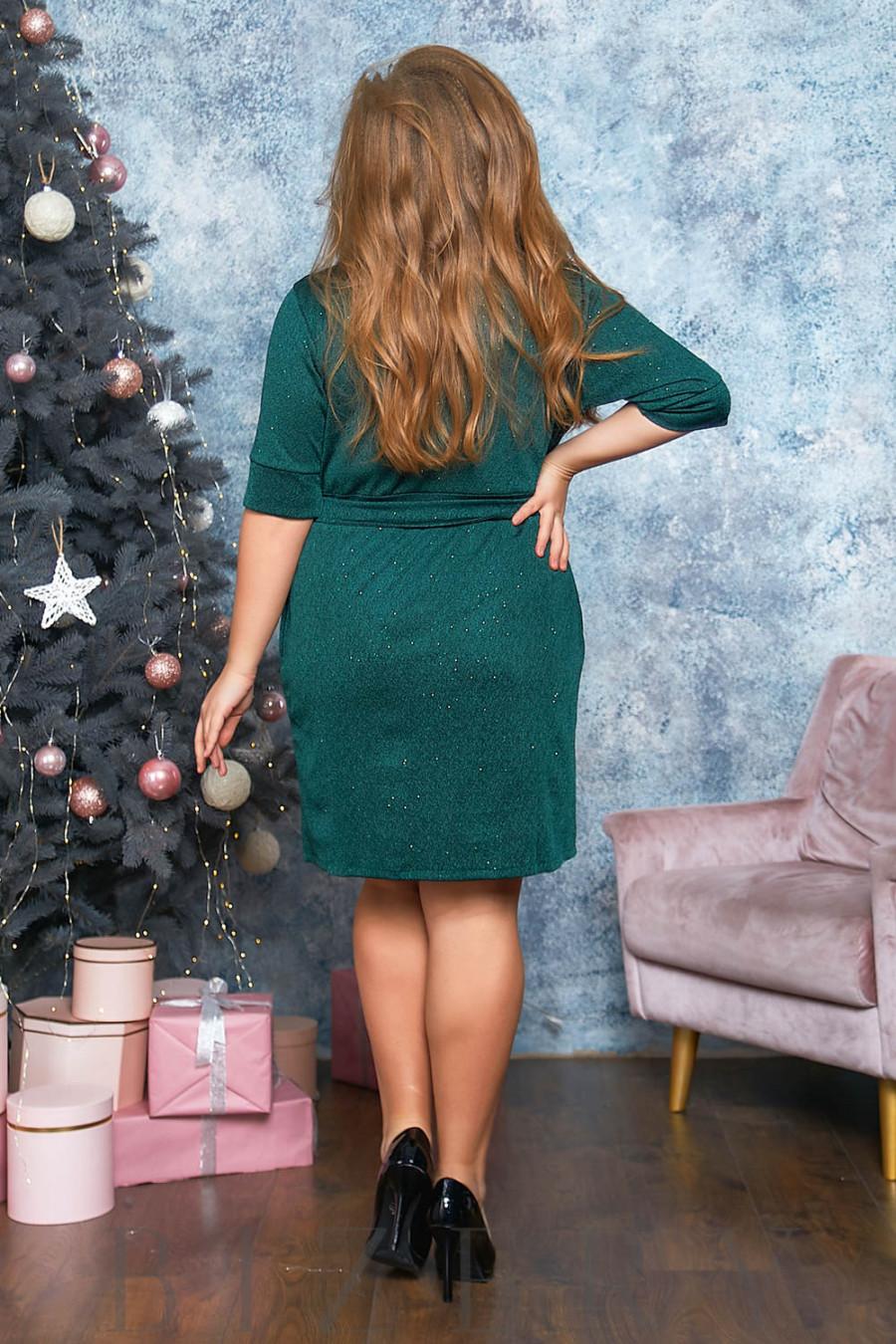 Платье мини с имитацией запаха в изумрудном цвете B562