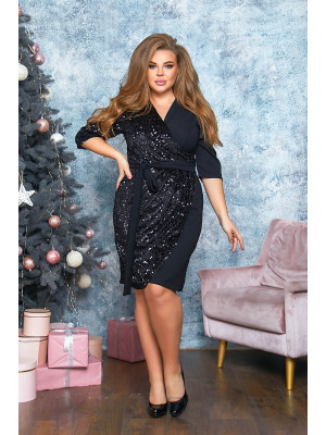 Платье в чёрно цвете с имитацией запаха B565