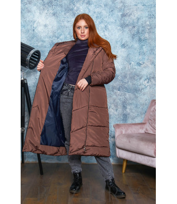 Зимнее удлинённое пальто шоколадного цвета B569