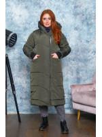 Зимнее удлинённое пальто цвета хаки B571