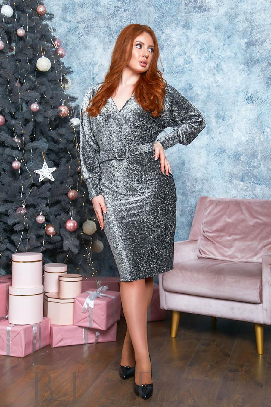 Вечернее платье с имитацией запаха в цвете металлик B518