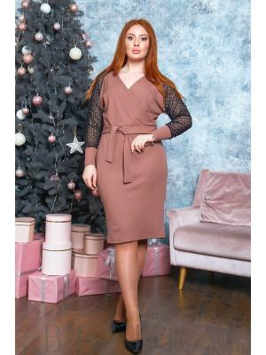 Платье миди с имитацией запаха в цвете капучино B523