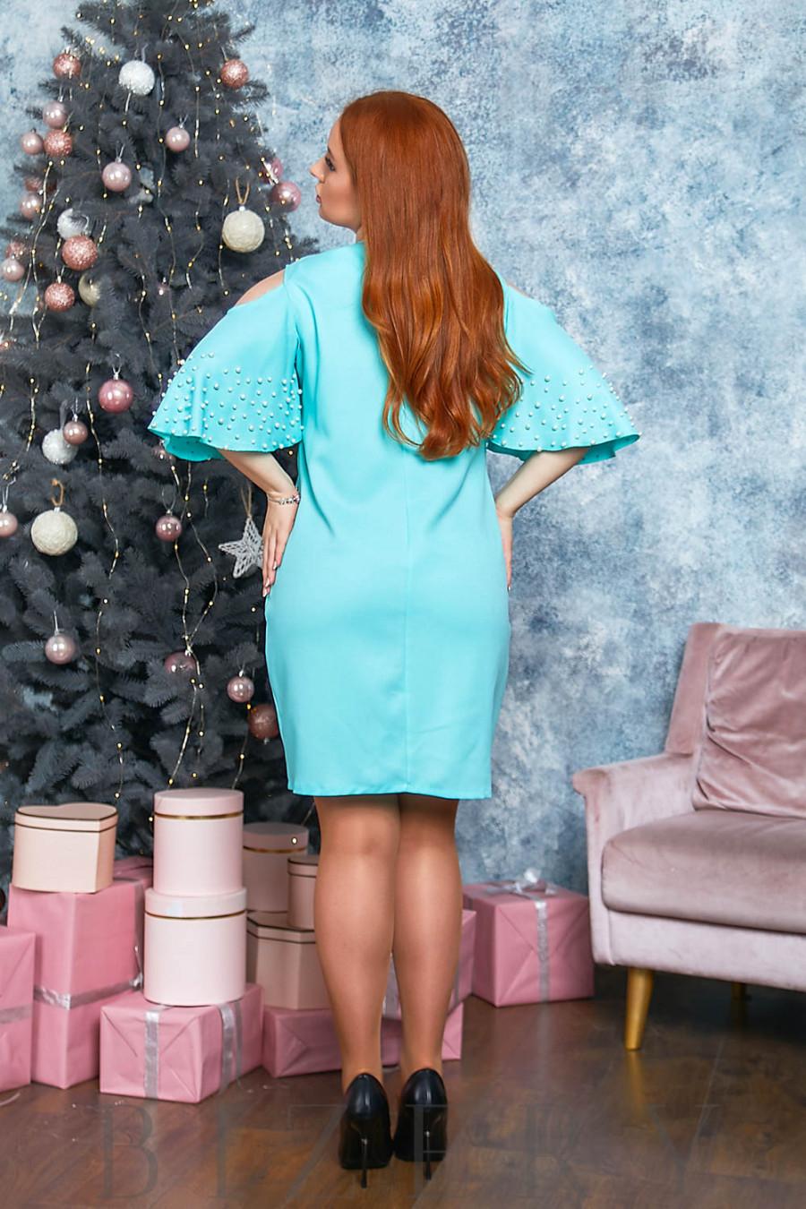 Романтическое платье в ментоловом цвете с воланами на плечах B532