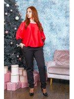 Стильный брючный костюм в красном цвете B536