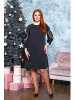 Утончённое платье А-силуэта в чёрном цвете B548
