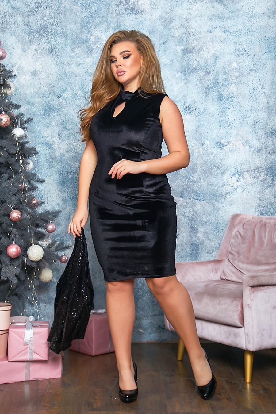 Бархатное платье в чёрном цвете с накидкой B551
