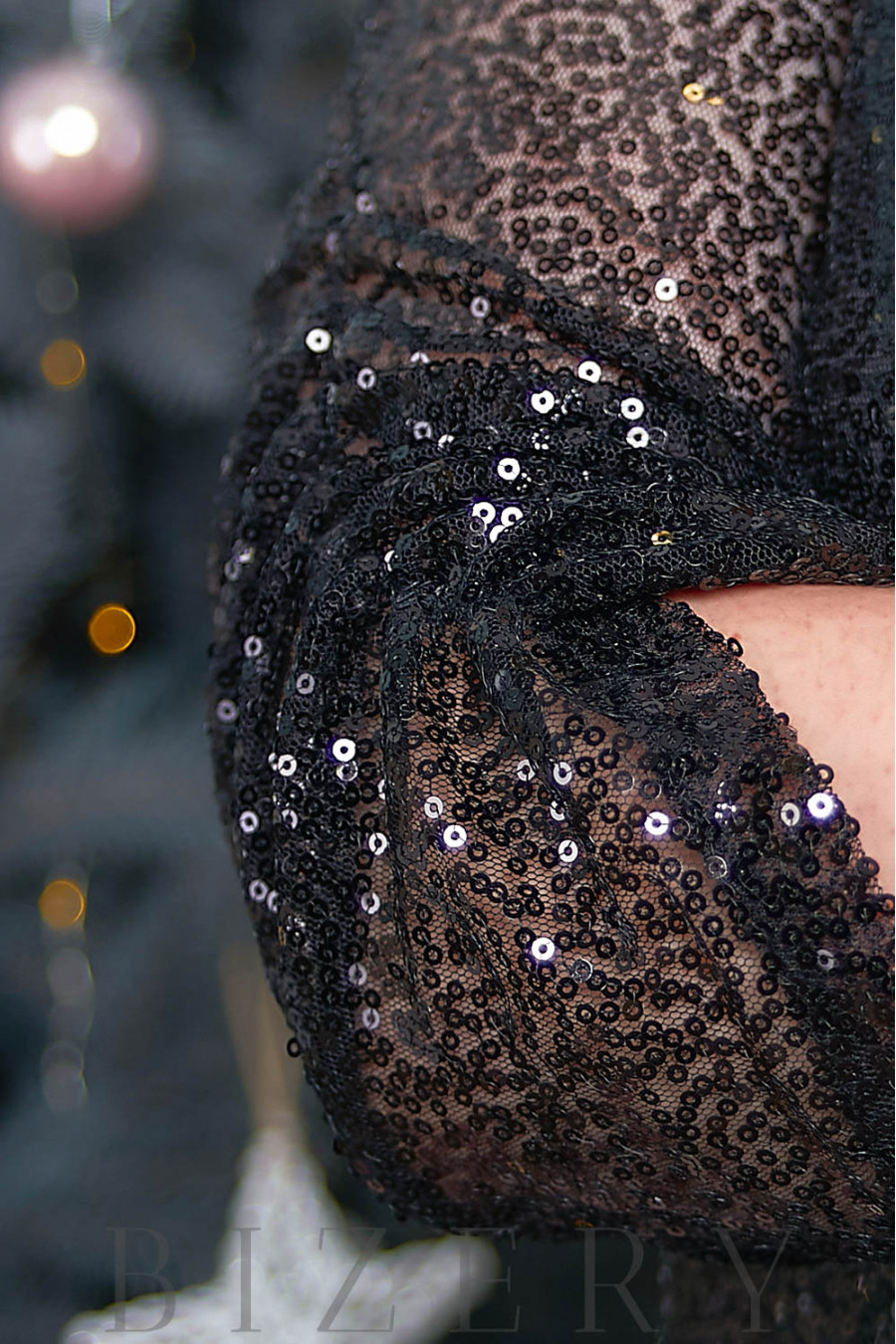 Чёрное платье двойка в пайетку B553