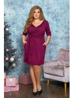 Платье мини с имитацией запаха в бордовом цвете B561