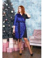 Платье в чёрно-синем цвете с имитацией запаха B563