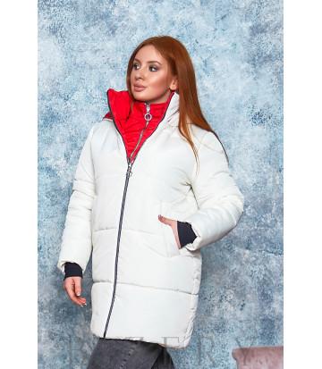 Стильная зимняя куртка в белом цвете В566