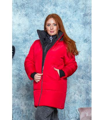 Стильная зимняя куртка в красном цвете В568