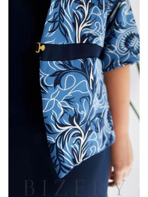 Элегантное патье-футляр с жакетом в джинсовом цвете B1094