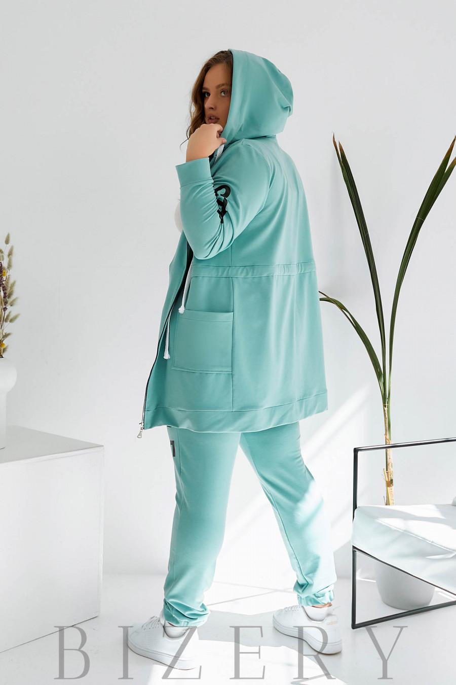 Спортивный костюм plus size нежно-мятный B1081