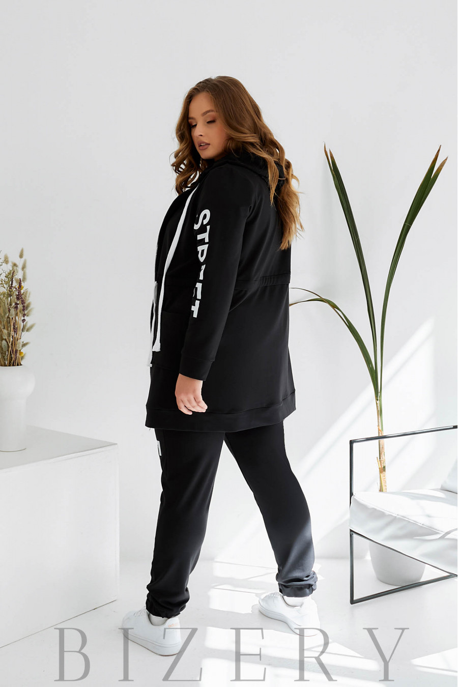Спортивный костюм plus size черный B1083