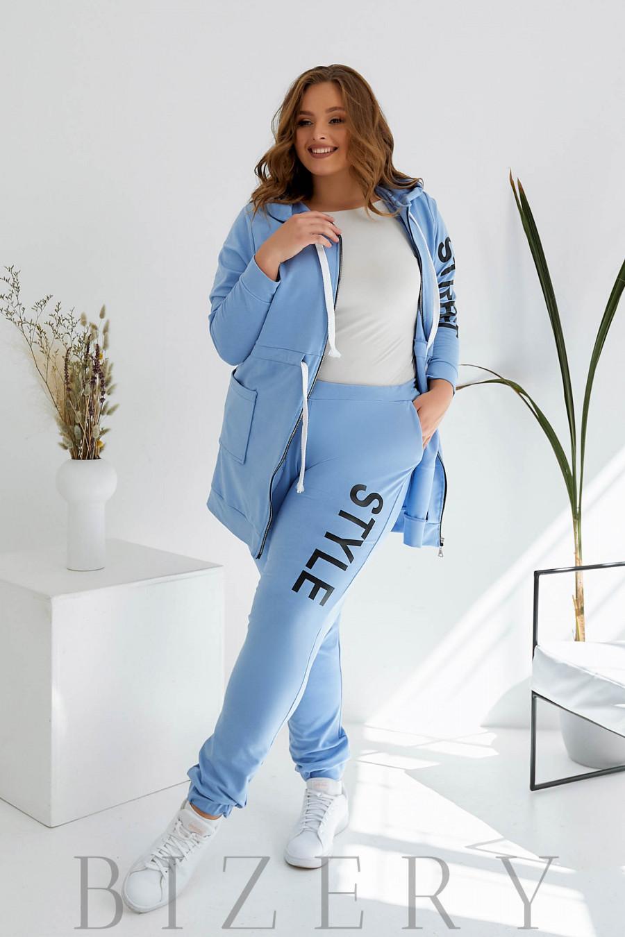 Спортивный костюм plus size голубой B1084