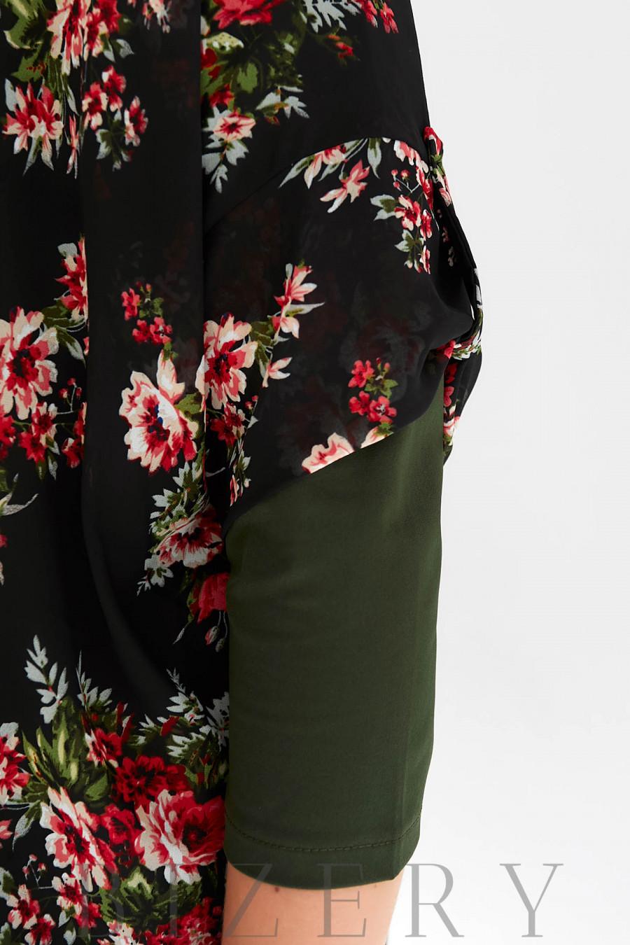 Женский костюм-тройка в цвете хаки с шифоновой накидкой B1098