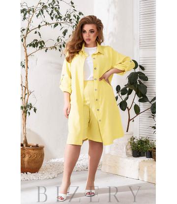 Льняной летний костюм тройка в желтом цвете В781