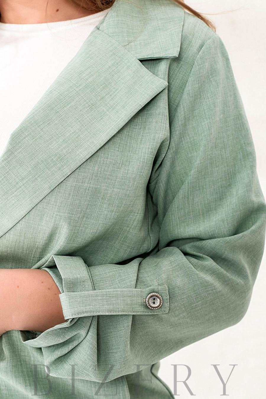 Шикарный летний костюм тройка в зеленом цвете В788