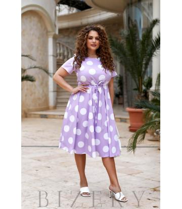 Повседневное летнее платье в горох сиреневый цвет В916