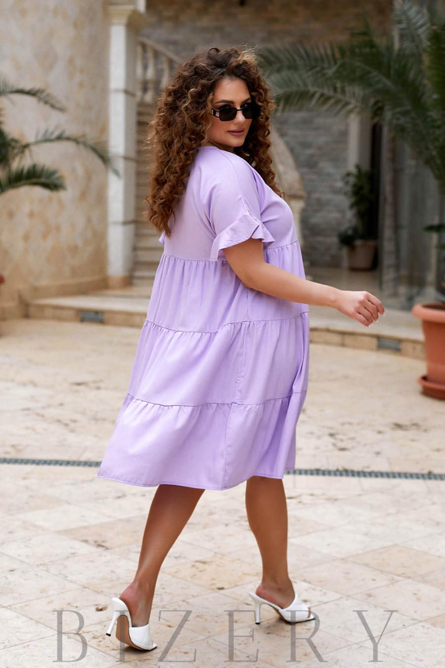 Повседневное льняное платье в сиреневом цвете В918