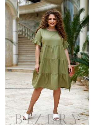 Повседневное льняное платье в оливковом цвете В919